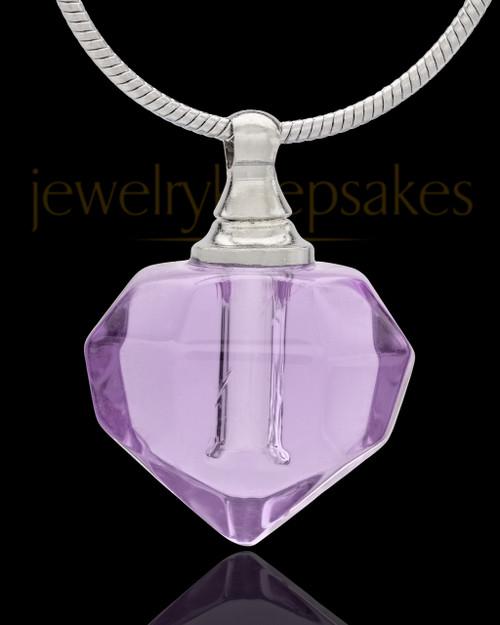 Urn Necklace Lavender Tiny Tear Glass Locket