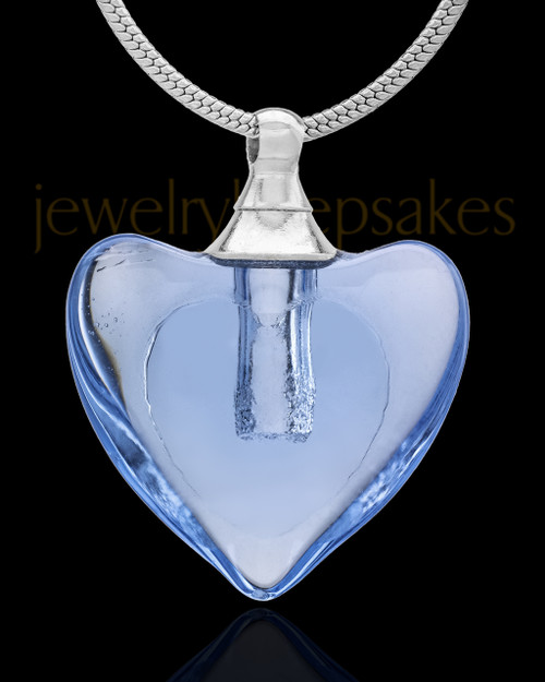 Urn Necklace Blue Heart Duo Glass Locket