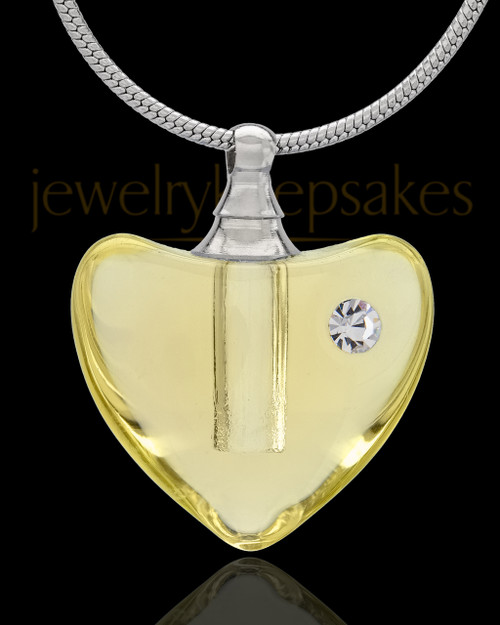 Urn Necklace Yellow So Loved Glass Locket