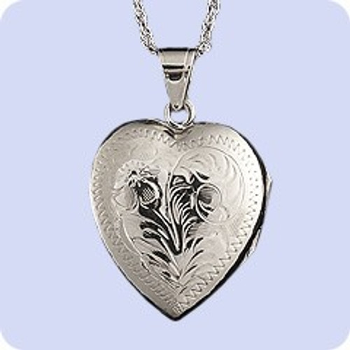 Cremains Pendant Sterling Silver Hand Engraved Heart Locket