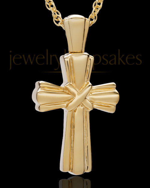 Cremation Ash Jewelry Antique 14K Gold Wrapped Cross