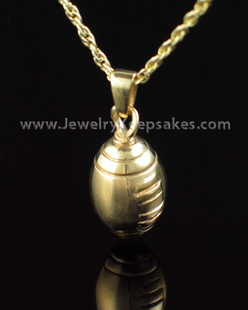 Memorial Urn Jewelry Gold Vermeil Football