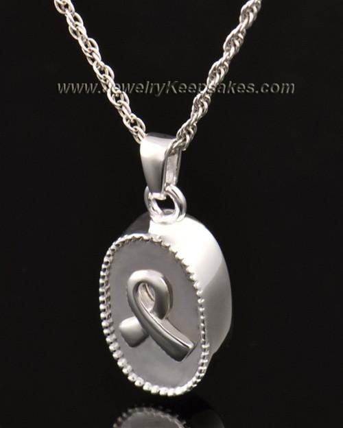 14k White Gold Ashes Pendant Breast Cancer Keepsake