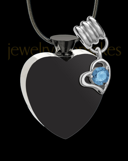 Stainless Steel December Enamored Heart Cremation Keepsake