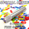 Party Pack - 4 Multicolour Confetti Cannons - Free Delivery