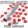 Valentines Pack - 4 Heart Confetti Cannons - Free Delivery
