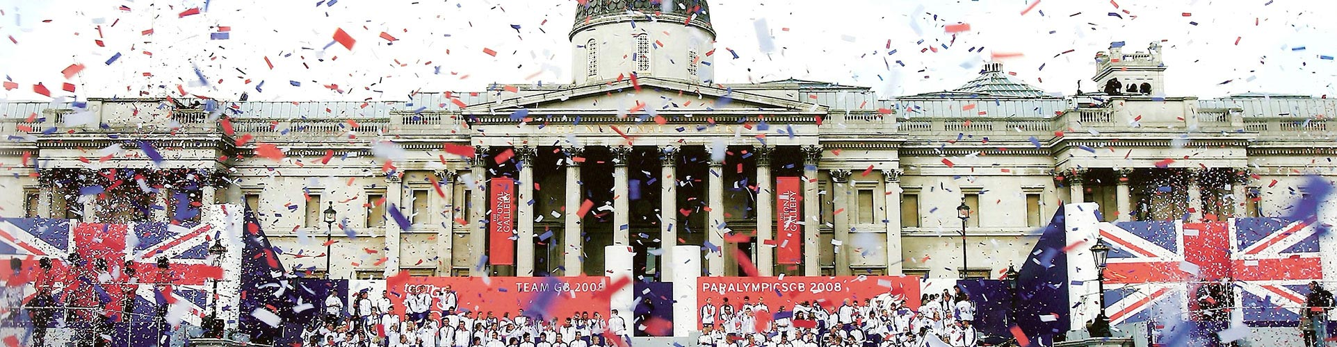 red, white and blue confetti fills Trafalgar Square