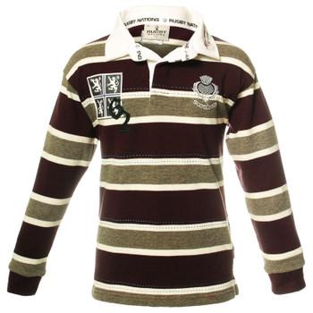 Boys And Girls Edinburgh Rugby Shirt For Kids In Purple Grey Long Sleeve 1-2 years