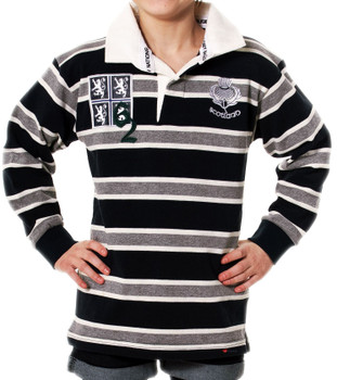 Boys And Girls Edinburgh Rugby Shirt For Kids In Grey Navy Long Sleeve 1-2 years