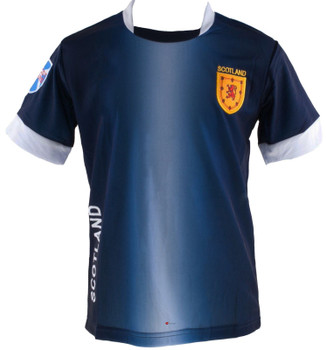 Kids Scotland Scottish Football T-Shirt Top Navy White Lion Rampant Badge 1-2-years