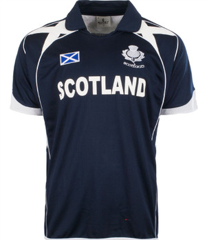 Cricket Top In Scotland Design With Saltire And Thistle Design In Navy Size X-Large