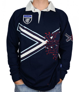 Gents Saltire Rugby Shirt With Lion Rampant Design In Navy Size Large