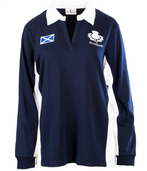 Ladies New Contrast Style Rugby Shirt Long Sleeve In Navy Size X-Small