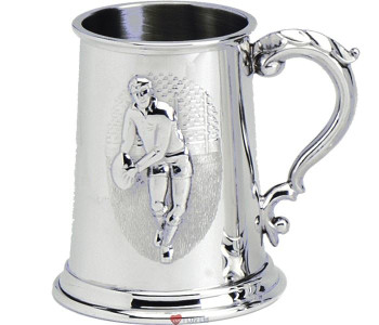 Pewter Tankard Embossed Rugby Union and League Scene Ornate Handle Ideal Gift