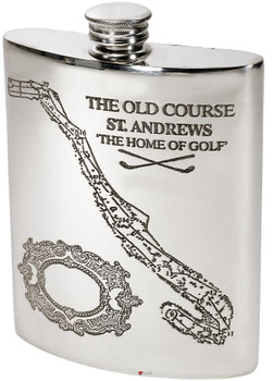 Golf Gift Pewter 6oz Hip Flask St. Andrews Old Golf Course Kidney shape With Course Details