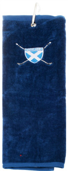 Gents Golf Towel Mens Scottish Saltire Embroidery Blue