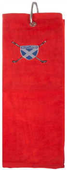 Gents Golf Towel Mens Scottish Saltire Embroidery Red