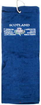 Gents Golf Towel Mens Scottish Thistle Emblem Embroidery Blue