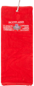Gents Golf Towel Mens Scottish Thistle Emblem Embroidery Red