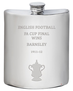 Barnsley English FA Cup Winner 6oz Pewter Hip Flask