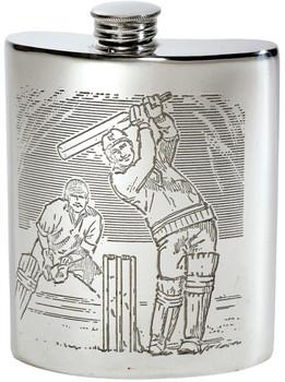 6oz Cricket Scene Kidney Flask*