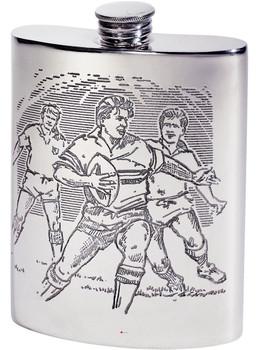 6oz Rugby Scene Kidney Flask*