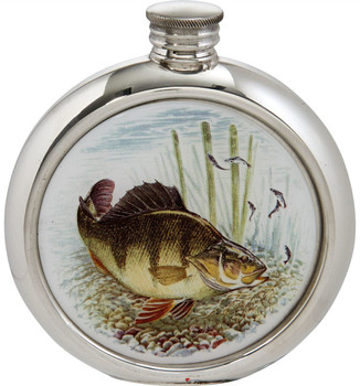 Round 6oz Pewter Flask with Full Colour Game Fish Picture Insert - Perch