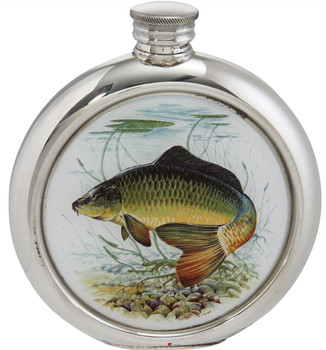 Round 6oz Pewter Flask with Full Colour Game Fish Picture Insert - Carp