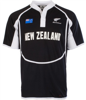 Gents Cooldry Style Rugby Shirt In New Zealand Colours Size X-Small