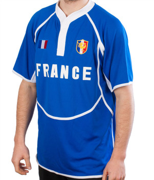 Gents Cooldry Style Rugby Shirt In France Colours Size