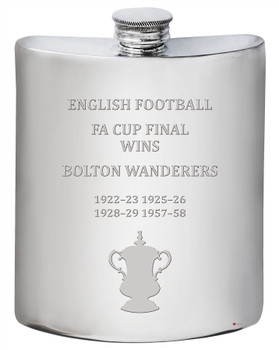 Bolton Wanderers English FA Cup Winner 6oz Pewter Hip Flask