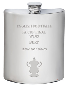 Bury English FA Cup Winner 6oz Pewter Hip Flask
