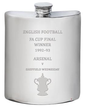 Arsenal English FA Cup Winner 1993, 6oz Pewter Hip Flask