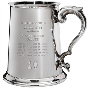 English 1st Division & Premiership Titles, Manchester United, 1pt Pewter Celebration Tankard, Football Champion