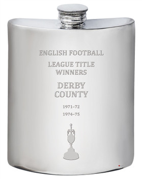 English 1st Division & Premiership Titles, Derby County, 6oz Pewter Celebration Hip Flask, Football Champion