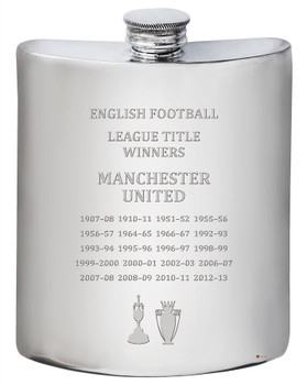 English 1st Division & Premiership Titles, Manchester United, 6oz Pewter Celebration Hip Flask, Football Champion