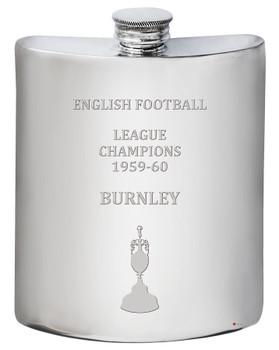 English 1st Division Football Champion Burnley 1960, 6oz Pewter Celebration Hip Flask