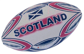 Kids Boys Junior Size Midi Rugby Ball Scotland with Saltire Flag