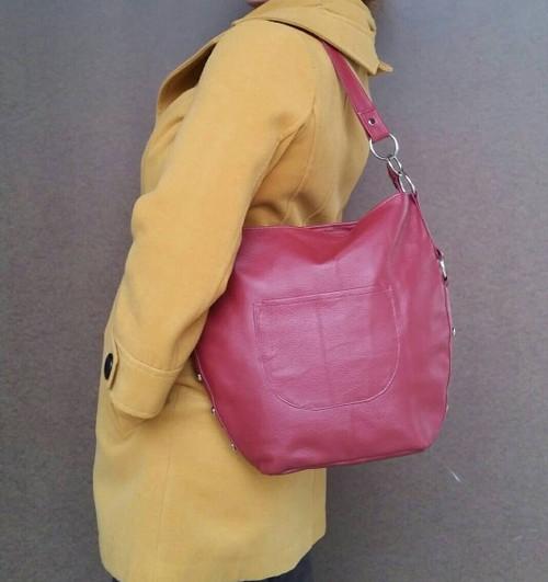 Hobo leather purse dark red bag medium retro fashion casual style burgundy  lightweight handbag handmade handbags 9488cce84bcd5