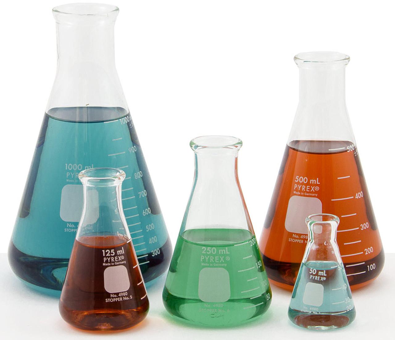 pyrex reg erlenmeyer flasks set of 5 assortment pack