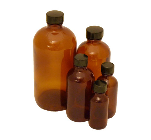Bottle, 30 ml (1 oz), amber glass, Boston round