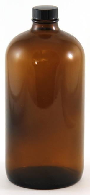 Bottle, 1000mL (32 oz), amber glass, Boston round
