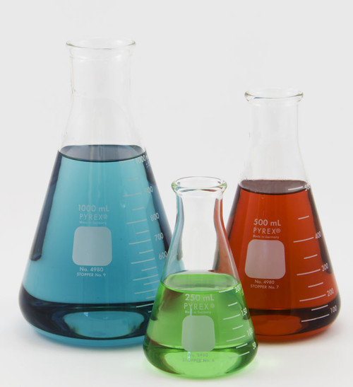 Pyrex Erlenmeyer Flasks, all sizes