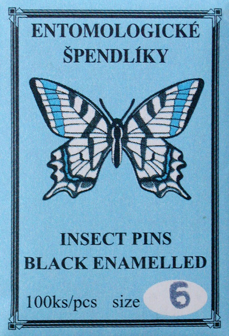 Insect Pins (entomological), size 6, black enamel