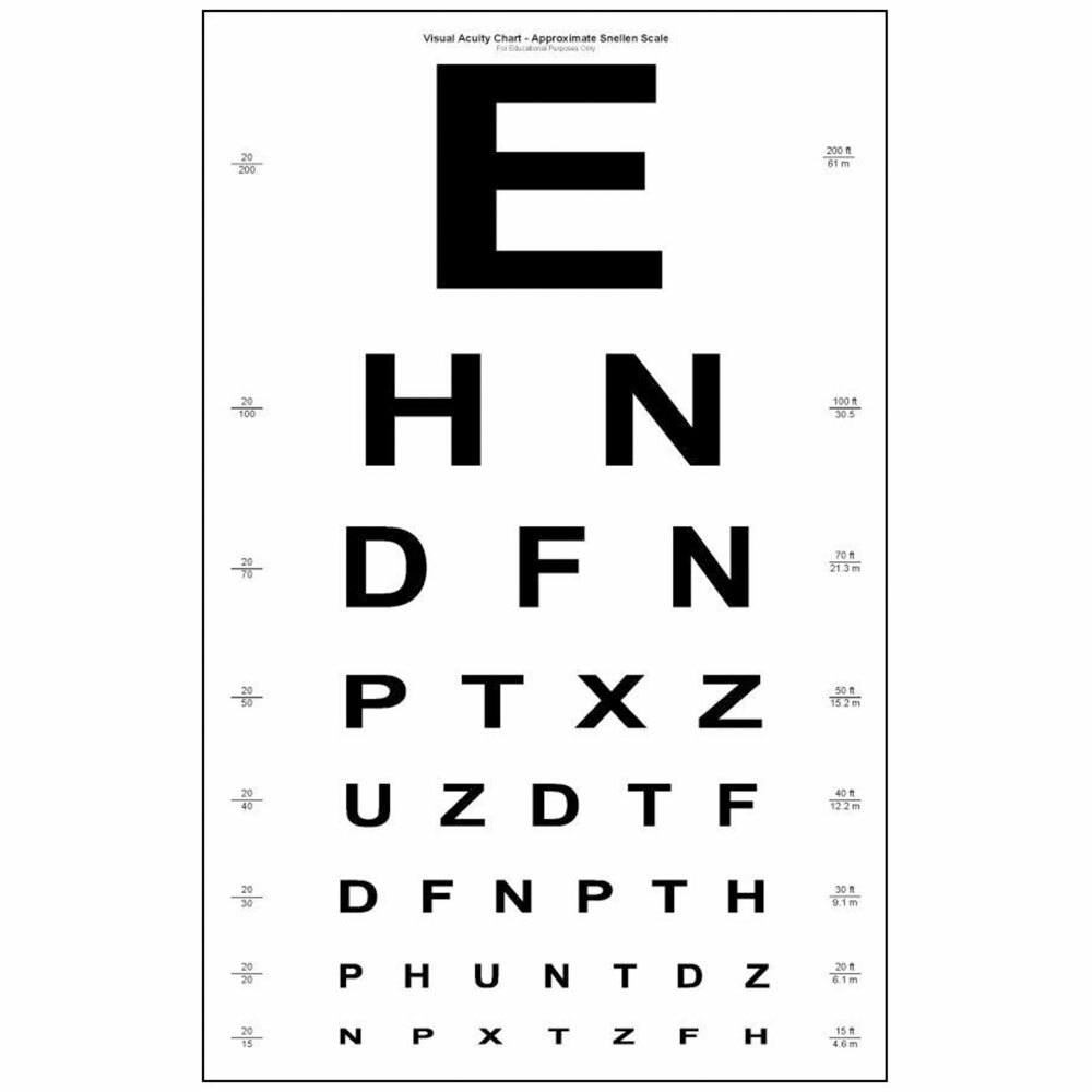 Snellen eye chart paper