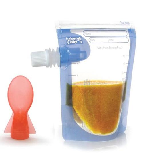 Cherub Baby Reusable On the Go Baby Food Pouches Starter 10 pk Plus Spoon