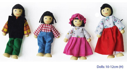 Fun Factory Wooden Doll House Family of 4 Asian Ethnic Posable & Bendable Dolls
