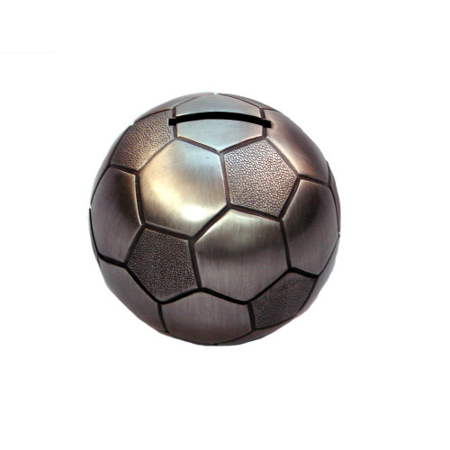 Soccer Ball Money Box Pewter Finish