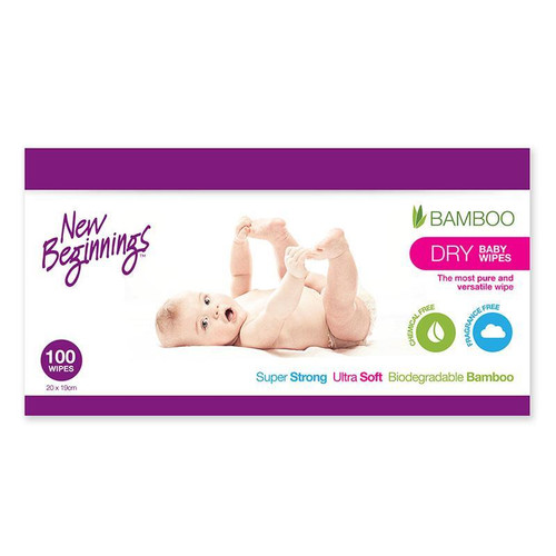 New Beginnings Bamboo Dry Wipes 100 Pack
