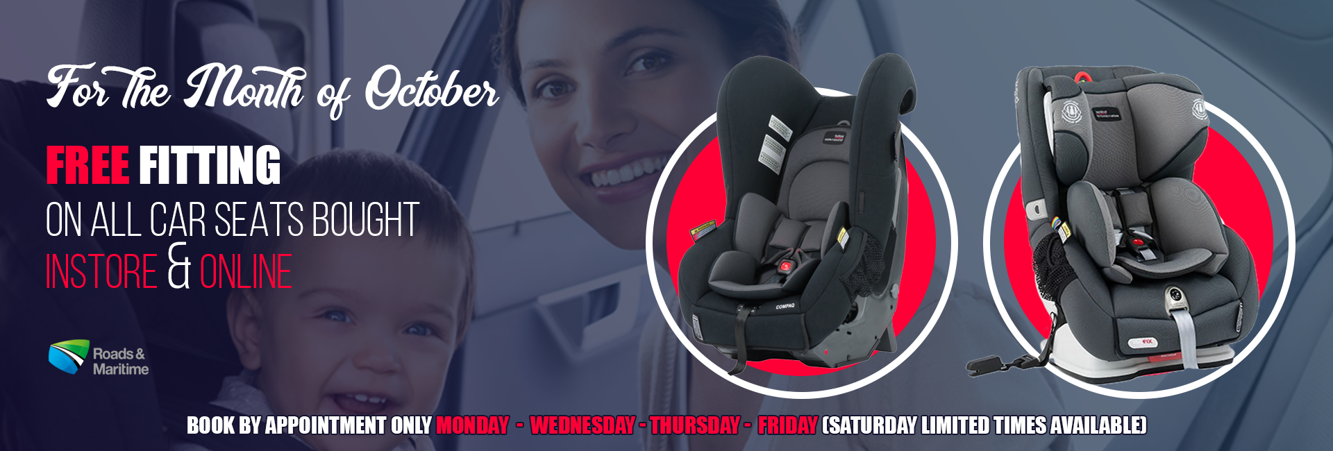 October Free Fitting with any car seat purchased instore or online